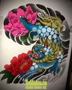 Foo Dog Tattoo, Dog Tattoos, Sleeve Tattoos, Japanese Tattoo Designs, Japanese Tattoo Art, Octopus Tattoos, Tribal Tattoos, Traditional Japanese Tattoo Flash, Japanese Foo Dog
