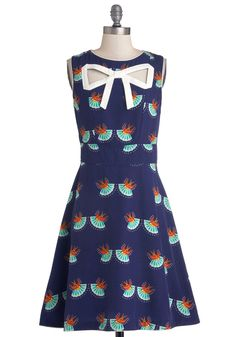 Peek-a-Bow Dress in Swallows. If you want feminine flair that balances demure design with flirty details, then youll love this blue, A-line dress by Trollied Dolly! #blue #modcloth