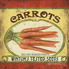 Veggie Seed Pack 4 Print By Debbie Dewitt