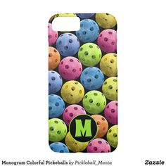 Monogram Colorful Pickeballs Case-Mate iPhone Case