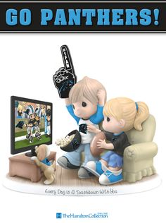 Cheer on your favorite football team, the Houston Texans, with this exciting Precious Moments fan figurine! Featuring an adorable couple watching a game on TV and rooting for their beloved team, this spirited collectible figurine is truly a must-have: Panthers Football, Sport Football, Sports Teams, Basketball, Panther Nation, Precious Moments Figurines, Thing 1, Carolina Hurricanes, Team Gear
