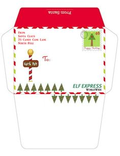 printable envelope from the north pole the shelf on the elf