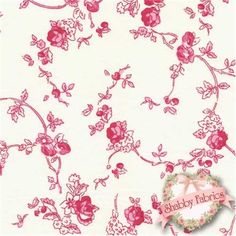 """$13.40 / yd  Boutis BACE-IR Alice Ivory Red by Couleur Nature/Mas d'Ousvan: Boutis is a spectacular shabby style collection by Bruno Lamy for Couleur Nature/Mas d'Ousvan.  This fabric was designed in Paris and printed in India.  100% cotton, 43""""/44"""" wide.  This fabric features small red roses and vines on an ivory background."""