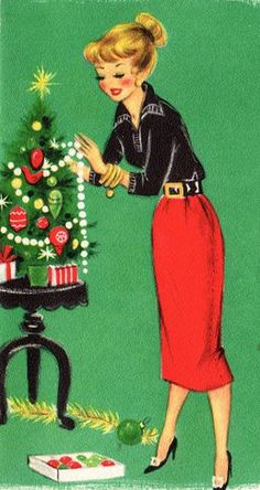 Vintage Holidays:: Christmas card, lady decorating a tree