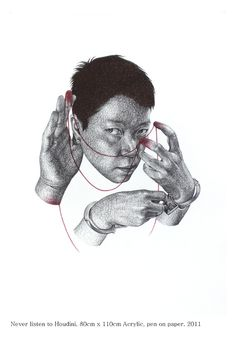 never listen to Houdini Seungyea Park Mixed MediaPaper Size: 43.3 x 31.5 x 2 in