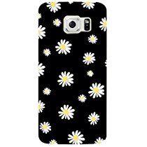 NOVAGO- Coque gel souple avec impression fantaisie pour Samsung Galaxy S6 (Fleurs Blanches fond noir)