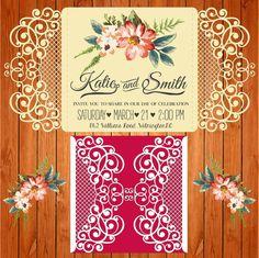 Invitación de la boda tarjeta plantilla figuras by thehousedesigns