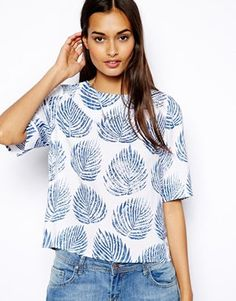 Image 1 of Glamorous Boxy Crop in Palm Print