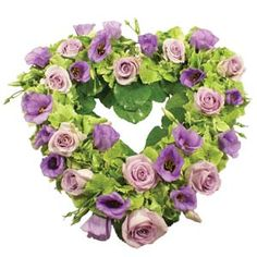Open heart in purples and greens Funeral Floral Arrangements, Funeral Sprays, Corona Floral, Memorial Flowers, Sympathy Flowers, Bouquet, Spring Wedding Flowers, Funeral Flowers, Funeral Tributes
