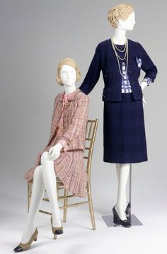 """Gabrielle """"Coco"""" Chanel, French, 1883-1971. Dress and Jacket, 1960s, wool tweed with brass lion's head buttons. Gift of Mrs. Nathan Cummings. And Jacket, Skirt and Blouse, 1959-1960, wool boucle and silk. Gift of Mrs. Peggy K. Colbentz."""