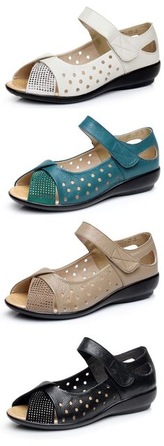 fa4c58e414a70 SOCOFY Large Size Peep Toe Hollow Rhinestones Hook Loop Flat Shoes is  comfortable to wear. Shop on NewChic to see other cheap women sandals on  sale.