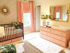 oviously a lot fancier looking than what we are capable of but so pretty for a girl nursery! The Glam Pad: A Palm Beach Inspired Nursery Coral Nursery, Nursery Room, Baby Room, Leopard Baby Nursery, Flamingo Nursery, Tropical Nursery, Nursery Office, Nursery Themes, Nursery Decor