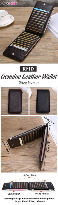 RFID Antimagnetic Genuine Leather Business Casual 20 Card Slots 5.5 Inch Phone Pocket Long Wallet