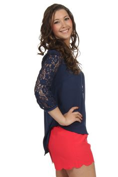 Lace and Bows Navy Top