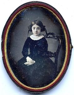 1/2 plate French oval Daguerreotype   GIRL ON CHAIR.