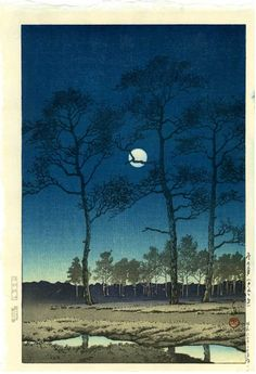 HASUI Japanese Woodblock Print Bare Trees Full Moon 1931 | eBay