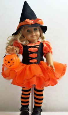 Halloween Witch Costume: For 18 Dolls Such As American Girl, My Life As (Walmart), Our Generation (Target) And Others Halloween Witch Costume Black Velour: For by ThreadsAndSplinters American Girl Halloween, American Girl Doll Costumes, American Doll Clothes, Ag Doll Clothes, Doll Clothes Patterns, American Dolls, Halloween Doll, Couple Halloween, Halloween Costumes