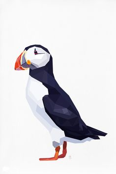Geometric illustration Puffin by tinykiwiprints on Etsy