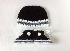 Little Raiders Grey Converse Inspired Booties and Hat set by BeesBootiesAndMore. Oakland Raiders baby, punk baby, Emo baby, rock baby, for the cool kids, cutest baby booties ever!