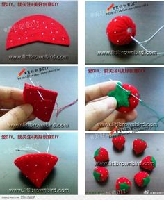 Very cute and easy felt crafts projects. How to make felted strawberryStep by step crafts - Step by step crafts Felt Diy, Felt Crafts, Fabric Crafts, Sewing Crafts, Diy And Crafts, Sewing Projects, Crafts For Kids, Paper Crafts, Christmas Ornament Crafts