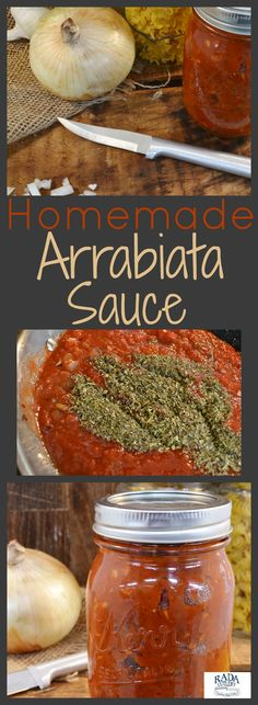 """Try this homemade arrabiata recipe for an incredible pasta sauce with a delightful kick! Featuring sauteed onions and the perfect balance of spices,. """"Arrabiata"""" is Italian for """"angry,"""" and you'll be anything but once you try this sauce this sauce out! Arrabiata Sauce Recipes, Sauce Bolognaise, Pasta Sauce Recipes, Tomato Sauce Recipe, Healthy Pasta Recipes, Pizza Recipes, Penne Arabiata Recipe, Recipe For Pasta, Salads"""