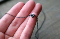 Tiny Skull Necklace in Black / Petite Little Spooky Skull Pendant Necklace ... Dainty Small Creepy Halloween Costume Accessory Goth Style on Etsy, $18.00