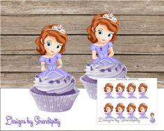 Sofia the First Cupcake Toppers,  DIY, Printable, PDF, Party Supplies, Matching Decorations and Invitaitons Available