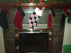 Scout decorated the fireplace.
