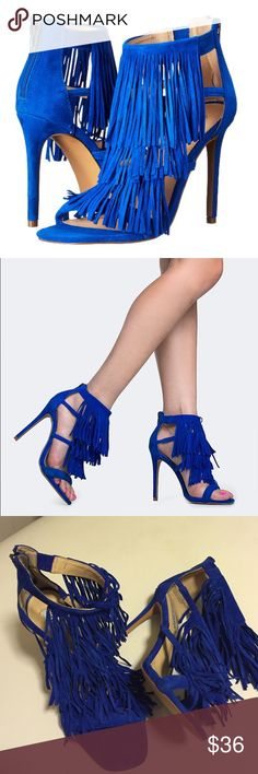 "Like new Steve Madden heels Like new; Seriously?!!! These shoes speak for themselves! Cobalt blue sueded leather fringe with back-zip and 4"" heels. These are FUN and FIERCE party shoes! Smoke-free/pet-free home. Steve Madden Shoes Heels"