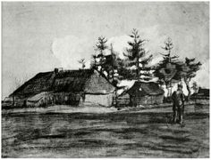 Vincent van Gogh Farmhouse with Barn and Trees Drawing