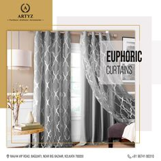 Add a dash of modernity with designer curtains that elevate the aesthetics of your abode.  #windowcurtains #windowblinds #homedecor #interiors #interiordesign  #livingroomideas Blinds For Windows, Window Curtains, Big Bazaar, Curtain Designs, Upholstery, Aesthetics, Interiors, Living Room, Interior Design