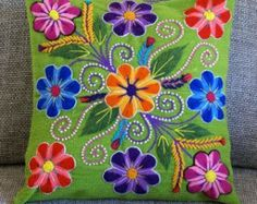 Floral pillow cover,Peruvian Pillow covers, Hand embroidered flowers pillow 16 x woven cushion, Apple Green boho pillow,hippie pillow Green Pillow Covers, Green Pillows, Floral Pillows, Boho Pillows, Wool Applique, Embroidery Applique, Embroidery Designs, Embroidered Cushions, Embroidered Flowers