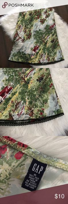Vintage GAP Silk Skirt Here's a super fun 90s vintage GAP skirt in a size 8! It's 100% Silk and I'm great condition! Love the fun farm print and the black lace hemline! The waist is elasticized so it's nice and easy to wear! GAP Skirts