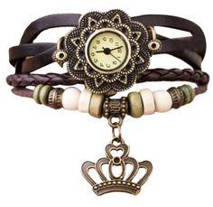 504fa3bf151 Retro vintage kožené náramkové hodinky s přívěškem hnědé Na tento produkt  se vztahuje nejen zajímavá sleva