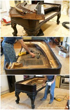 Video of deconstructing a piano... We're repurposing an antique square piano into our KITCHEN ISLAND… it's the first step in our old Victorian house DIY kitchen remodel.