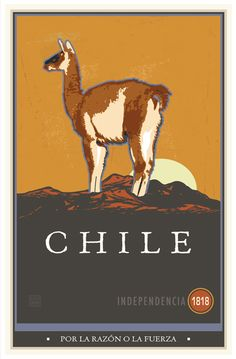 """If you love to travel, get inspired today!   Poster of the Week / Chile  This poster was commissioned by my friend Bob Austin for his daughter Gabriella to commemorate her travels to Chile with her high school's study abroad program.   http://www.zazzle.com/skibbyb  What people are saying  """"AWESOME GALLERY....I totally enjoyed browsing through all the vintage designs....Definitely joining your fan club."""""""