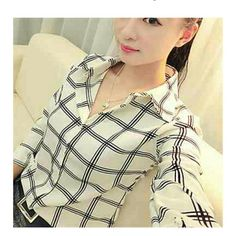 Shirt Long sleeve check pattern shirt Tops