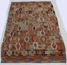 "Turkish Kilim Rug, Home Decor Area Kilim Rug, faded colors Turkish Decorative Kilim Rug Multicolor Wool Floor Kilim Rug 8'x5'2.2"" /245x158cm"