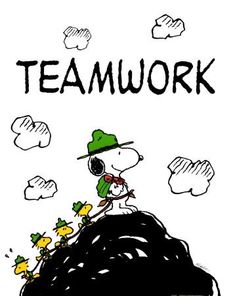 Snoopy Love, Charlie Brown And Snoopy, Snoopy And Woodstock, Teamwork Poster, Teamwork Quotes, Building Games For Kids, Team Building Activities, Scout Activities, Peanuts By Schulz