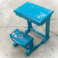 Antique Child's Desk with folding bench seat, distressed bird & tree accents, done in blue hues with copper undertones, sealed w/ a polyurethane finish for added durability