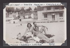 Florence,George, Larry and at Wave Crest, Santa Monica Beach, 1940