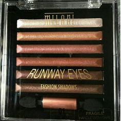 Milani Runaway Eyes Fashion Shadows Brand-new Milani Runaway Eyes Fashion Shadows  #01 Designer Browns  Baked Eyeshadows  Product Description:  Six intense eye colour bars in one luxury compact with a double ended sponge applicator. Use individually or combine the colours for a multidimensional impact. Each collection has been expertly matched and designed to use the lighter tones to highlight, the medium and dark tones to contour. This luxurious formula glides on effortlessly. Check out my…