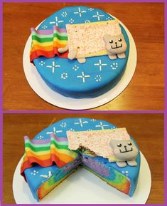 nyan cat rainbow cake  by rosanna pansino  http://youtu.be/SqKIHGD_pmg