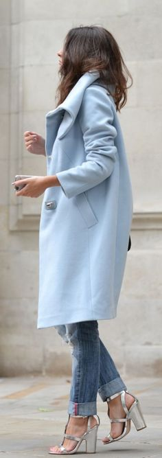 #street #style / baby blue coat + denim