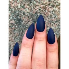 Matte nails, stiletto nails, navy blue, fake nails ($15) ❤ liked on Polyvore featuring beauty products and nail care