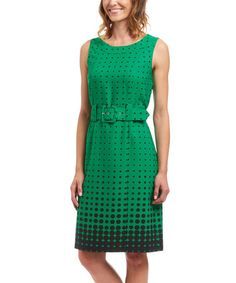 Another great find on #zulily! Green & Black Polka Dot Belted Dress #zulilyfinds