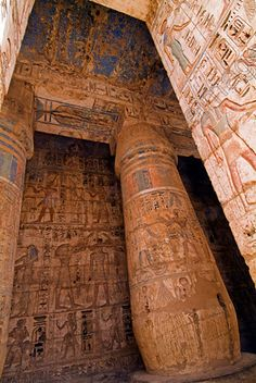 Medinet Habu Temple Luxor Vista Second Court Columns Ceiling Colors located on the West Bank of the River Nile.