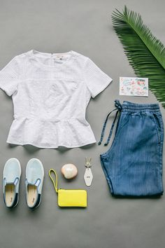 Dreaming of wearing this white eyelet peplum & chic denim jogger on a spring vacation. Shop new spring arrivals from Gap.