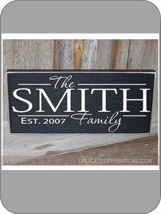 Personalized Family Name with Year Established Vinyl Lettering Wall Decal. *Vinyl Only. Would be great on a painted board, glass frame, or directly on the wall. Available in various sizes and vinyl colors. Customize with family name and year the couple was married.