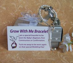 "Christening Bracelet Baby Girl Grow With Me on Etsy, $38.00 your baby wears this on baptism, 1st communion & confirmation. When its wedding day your little girl wears it. You can buy one for your son it's in blue & just like the girls bracelet he wears it except on his wedding day. It will be given to the bride as ""something blue"" (the boys bracelet is blue)"